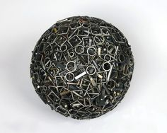 Scrap Metal Planets spheres sculpture recycling metal