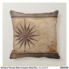 Shop Antique Vintage Map Compass Ship Nautical Distress Throw Pillow created by azlaird. Nautical Pillow Cases, Nautical Throws, Nautical Cushions, Anchor Pillow, Map Compass, Nautical Compass, Navy Home Decor, Grey Throw Pillows, Shiny Fabric