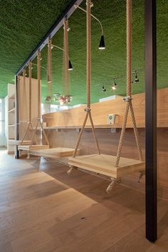 View full picture gallery of Joy_coffee&green Coffee Shop Interior Design, Coffee Shop Design, Interior Design Studio, Cafe Design, House Design, Deco Restaurant, Restaurant Design, Restaurant Seating, Swinging Chair