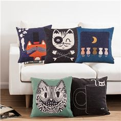 Modern Simple Kitty Series Sofa Office Linen Pillow Cover 7 Designs