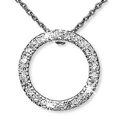 Eternity Circle Pendant Necklace Cubic Zirconia 16 inch Silver Plate n217s