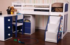 Combi sleeper in blue and white with ladder storage