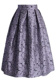 Shading Flower Embossed Midi Skirt - New Arrivals - Retro, Indie and Unique Fashion