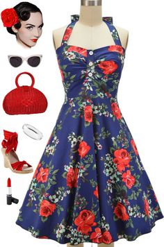 RESTOCKED at Le Bomb Shop!! The Miss Mabel Sweetheart Sun Dress in Navy Rose... Only $38 with FREE U.S. s/h.. buy it here: http://lebombshop.net/search?type=product&q=mabel&search-button.x=0&search-button.y=0