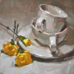 Carol Marine x Painting Still Life, Still Life Art, Small Paintings, Beautiful Paintings, Pottery Painting, Artist Painting, Tea Cup Art, Fruit Art, Coffee Art
