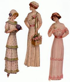 Paper dolls c. 1911  These would be so pretty glittered and hanging as gift tags or ornaments