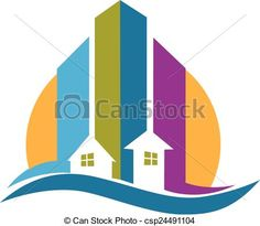Vector - Real estate modern buildings logo - stock illustration, royalty free illustrations, stock clip art icon, stock clipart icons, logo, line art, EPS picture, pictures, graphic, graphics, drawing, drawings, vector image, artwork, EPS vector art