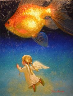 Victor Nizovtsev Painting Starry Night Goldfish in Flight Jurassic Park 3, Jurassic World, Fantasy Kunst, Fantasy Art, Victor Nizovtsev, Creation Photo, Painting People, Angel Art, Fantasy Landscape
