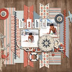 Pin #6 - I love paper-to-digi scraplifts! This month, use Diane Payne's gallery inspiration    Credit:  America: Harbor by Julie Billingsley  Displaced Alphabet: White by Shawna Clingerman