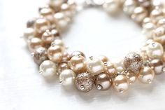 Bridesmaid Jewelry Pearl Cluster Bracelet - White Chocolate, Nude Color Cream Beige Fall Wedding via Etsy