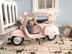 Pink Italian Vespa   dolls house dollhouse door FloraDollhouse, $50.00