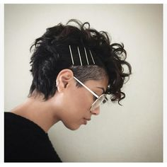 A curly pixie cut makes for some of the most fun ways to wear your curly hair! We have put together our favorite ways on how to style a curly pixie cut that is perfect for the holiday season! Curly Undercut, Curly Pixie Hairstyles, Bobby Pin Hairstyles, Short Pixie Haircuts, Curly Hair Styles, Hairstyles 2018, Wavy Pixie Haircut, Hairstyle Short, Style Hairstyle