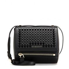 Givenchy Pandora Box Mini Embellished Leather Shoulder Bag (168.045 RUB) ❤ liked on Polyvore featuring bags, handbags, shoulder bags, givenchy, black, givenchy purse, black shoulder bag, leather purse, genuine leather purse and genuine leather handbags