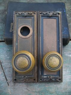 Pair Art Nouveau Brass Door Knobs and Plates from OSU