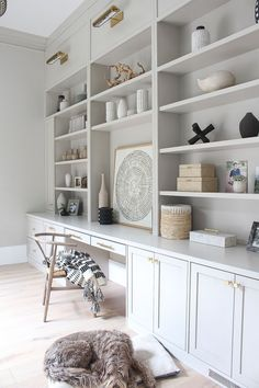 Gray Home Offices, Home Office Design, Home Office Decor, Home Decor, Office Ideas, Office Setup, Office Organization, Home Office Shelves, Home Office Cabinets