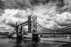 Tower Bridge London - Framed Print - Gallery Canvas - Art Print - Black & White Photography - Wall Art - Fuji Metallic Paper  #StormySky #UK #Kayaks #HorizontalArtPrint #FineArtPrint #TowerBridge #River #FramedPhoto #London #GalleryPrint