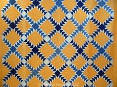 Antique Quilt Indigo and Cheddar Flock of Geese Old Quilts, Antique Quilts, Vintage Quilts, Quilting Projects, Quilting Designs, Dear Jane Quilt, Flying Geese Quilt, Two Color Quilts, Yellow Quilts
