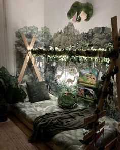 University Bedroom Ideas: How to Decorate your Dorm Room with Fairy Lights – Dorm Room İdeas 2020 Dinosaur Kids Room, Dinosaur Room Decor, Boys Dinosaur Bedroom, Bedroom Themes, Kids Bedroom, Bedroom Decor, Bedroom Lighting, Boys Jungle Bedroom, Childrens Bedroom Ideas