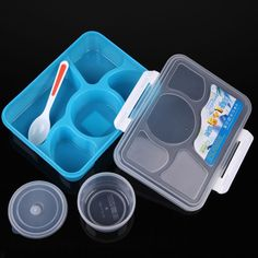 Portable Microwave Bento Lunch Box 5+1 Food Container Storage Box with 1 Spoon-in Dinnerware Sets from Home & Garden on Aliexpress.com | Alibaba Group