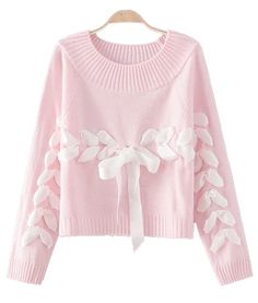 OLGITUM 2018 Fashion new ladies sweater solid color cute silk banded bowknot Loose sweater knitted pullover sweater for female Loose Sweater, Pink Sweater, Sweater Jacket, Long Sleeve Sweater, Kawaii Pullover, Kawaii Sweater, Kawaii Clothes, Diy Clothes, Pull Kawaii