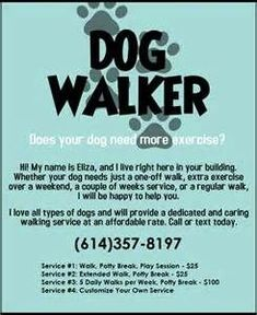 Dog Walker Trainer Flyer Bing Images Dogwalking