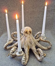 Octopus Candleabra Ceramic Sculpture