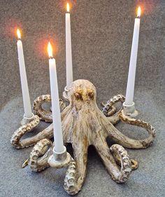 Octopus Candleabra Ceramic Sculpture