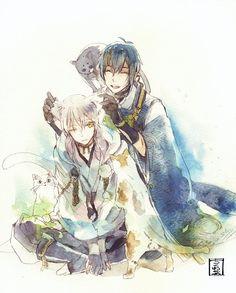 Mikazuki and Tsurumaru (or is it Tsuru-nyaa-ru? Manga Anime, Anime Art, Touken Ranbu Mikazuki, Short Comics, Anime Characters, Fictional Characters, Manga Drawing, Sword, Fan Art