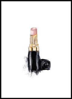 Print met illustratie van Chanel lippenstift