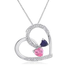 Created-Pink Sapphire, Amethyst and Diamond Double Heart Necklace in Sterling Silver