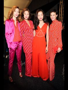 backstage at DvF show fall 2013