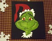 free hand painted Grinch , black back round