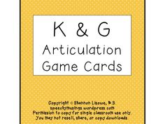 Speechy Musings: Articulation Deck of Cards for K & G. Pinned by SOS Inc. Resources. Follow all our boards at pinterest.com/sostherapy for therapy resources.
