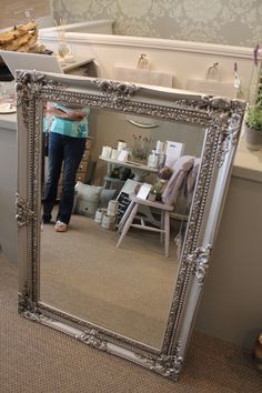 AFTER: Hand Painted traditional style mirror using Autentico Vintage chalk paint in metallic silver