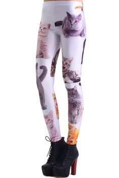 Various Cat Faces Print Leggings(Arrival on May.30th) #Romwe
