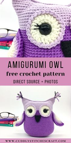 Crochet this adorable Amigurumi owl with the help of my FREE crochet owl pattern. This plushie will be a fun crochet project for you to work on and I'm sure that any kid will love this stuffed owl. Visit my website for more free crochet toy patterns. #freecrochetpattern #freecrochetproject #freeamigurumipattern #freecrochettoypatterns #freecrochetanimalpatterns Crochet Baby Toys, Cute Crochet, Crochet For Kids, Easy Amigurumi Pattern, Softie Pattern, Yarn Animals, Knitted Animals, Owl Crochet Patterns, Owl Patterns