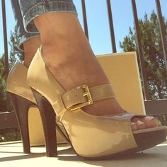 Like New Michael Kors Chandler Pumps  Nude/Gold Worn Once Excellent Condition  Nude / Gold Micheal Kors Chandler Mary Jane Pumps Women's Sz 7 Fits True to Size Michael Kors Shoes Heels