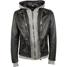 Philipp Plain Leather Jacket ($2,110) ❤ liked on Polyvore featuring men's fashion, men's clothing, men's outerwear, men's jackets, men, jackets, black, mens hooded leather jacket, mens leather jackets and mens jackets