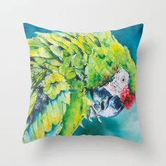 Green parrot Throw Pillow by miriza - $20.00