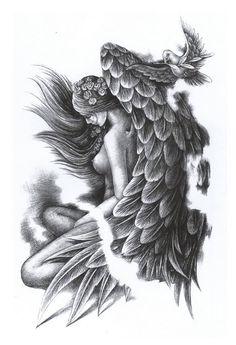 Sleeve Tattoos For Women Best Trendy Skull Tatto, Neck Tatto, Bee Tattoo, Kunst Tattoos, Body Art Tattoos, Tattoo Art, Sleeve Tattoos For Women, Tattoos For Guys, Fallen Angel Tattoo