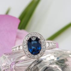 Oval halo diamond vintage engagement ring from @shanecompany