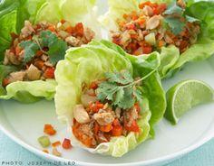 Diabetic friendly healthy chicken lettuce wraps