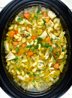 Crock Pot Chicken Noodle Soup - love the use of a different pasta!  Uses split chicken bone-in breasts.