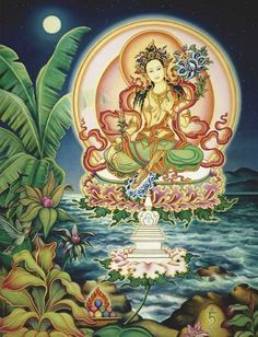 Thangka Sacred Art Gallery - I like the sort of floating over the ocean and land… Chakras, Tara Goddess, Goddess Lakshmi, Mantra, Art Magique, Vajrayana Buddhism, Mudras, Green Tara, 17th Century Art