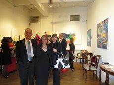 """Dr. and Mrs. David Falk (l) greeting Tiril (r) """"Moulin Rouge-Thanksgiving"""" Gala Champagne Reception for the November 8 - December 3, 2013 Exhibition at Amsterdam Whitney Gallery"""