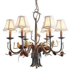 Rustic country 6-light pinecone & bird fabric bell shade metal branch chandelier, sold at US$319.99