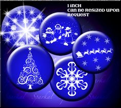 Circle Digital Collage Sheet Digital CHRISTMAS Blue Circle Images bottlcap images, Instant Downloadsnowflake clipart, snowflake clip art