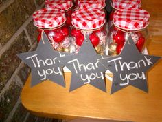 Thank you gift with chocolates in a glass jar and chalk board star