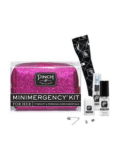 PINCH PROVISIONS MINIMERGENCY KITShe'll have you to thank when this pretty pouch filled with emergency essentials saves the day after she gets a run in her tights, loses an earring back or spills coffee on her favorite sweater.