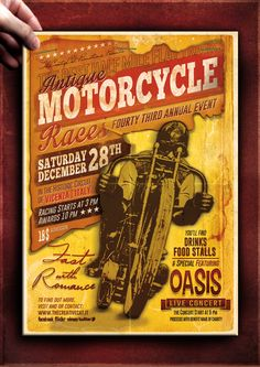 """The Flyer Poster Templates """"Vintage Motorcycle Vol. 5"""" You'll find it on my website www.thecreativecat.it"""